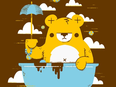Bear in the Bathtub with an Umbrella
