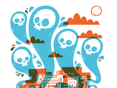 Boombox Ghosts wood fire forest skateboard jetpacks and rollerskates tech boombox ghosts skull 80s illustration