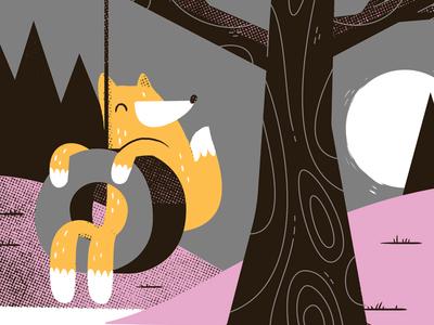 Fox on a swing