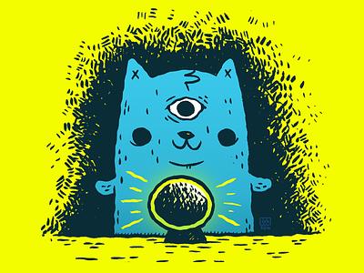 Psychic Kitty  jetpacks and rollerskates jetpacksandrollerskates blake stevenson third eye eye cute pshycic cat illustration