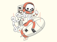 Astronaut Skeleton and His Cat