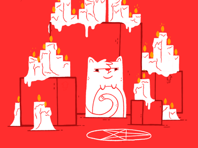 Kitty Cult cult jetpacks and rollerskates jetpacksandrollerskates blake stevenson evil candles cute occult cat illustration