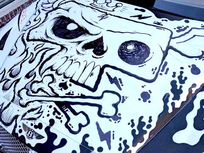 Drawing a skull on a Bentley wings jetpacks and rollerskates jetpacksandrollerskates blake stevenson skull and crossbones bentley skull car street art illustration