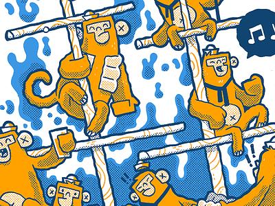 Monkeys on a pirate ship? boat singing blake stevenson jetpacks and rollerskates character design pirates cute monkeys illustration