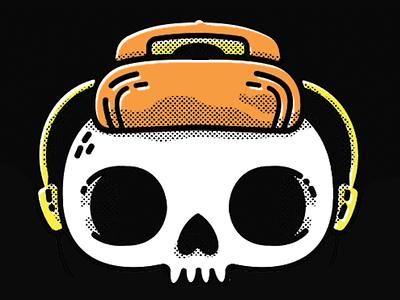 Another day another skull streetwear jetpacks and rollerskates jetpacksandrollerskates blake stevenson walkman retro hipster bones skull 80s illustration