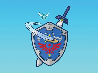 Zelda (Link's Shield) vector art jetpacks and rollerskates jetpacksandrollerskates blake stevenson walkman retro nintendo zelda video games 80s illustration