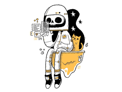 Space Skull and his Feline Friend character design jetpacks and rollerskates jetpacksandrollerskates blake stevenson astronaut cyberpunk cute space skull cat illustration