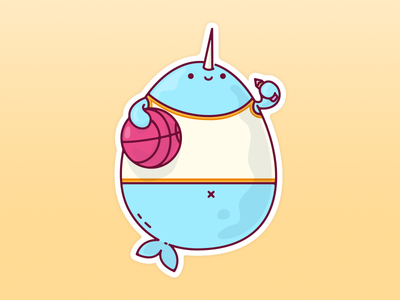 Magical Dribbble Narwhal Sticker mascot cute sticker mule jetpacks and rollerskates basketball dribbble character design magical narwhal illustration
