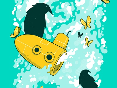 Submarine, Ravens and Butterfly's surreal jetpacks and rollerskates jetpacksandrollerskates blake stevenson bird water butterfly raven submarine illustration