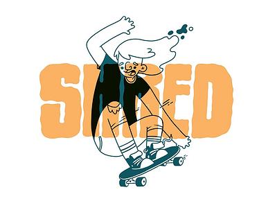Shred character design action hand lettering jetpacks and rollerskates punk old school typography 80s skateboarding
