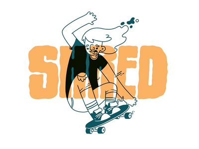 Shred character design action hand lettering jetpacks and rollerskates punk old school typography 80s skateboarding