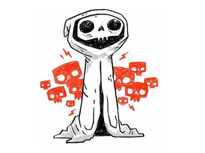 Skulls on skulls on skulls lightning bolt skeleton cloak reaper video games retro cartoon jetpacks and rollerskates sketch skull cute character design