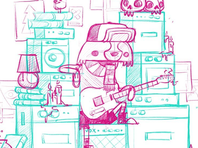 Hipster Raccoon Strikes Again jetpacks and rollerskates blake stevenson rock and roll cute character design scarf amp converse gig poster hipster amplifier skull guitar raccoon