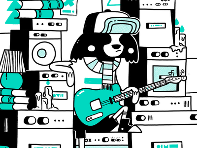 Hipster Raccoon Getting Ink'd Up skull hipster texture converse fender vox jetpacks and rollerskates blake stevenson scarf retro rock and roll amplifier guitar raccoon cute cartoon character design