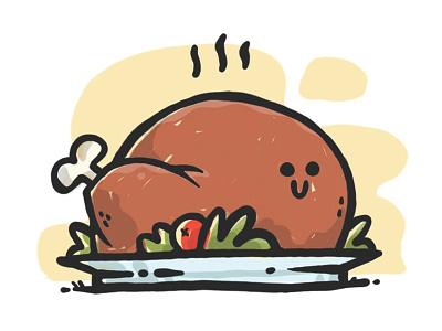 Turkey Time! canada toronto funny food holiday thanksgiving turkey cartoon cute character design jetpacks and rollerskates illustration