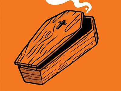 Coffin ghost cross october zombie horror retro hipster blake stevenson cartoon jetpacks and rollerskates dead halloween coffin