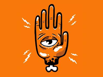 Occult style eye in hand hipster cartoon hand eye illuminati retro inktober occult blake stevenson jetpacks and rollerskates illustration