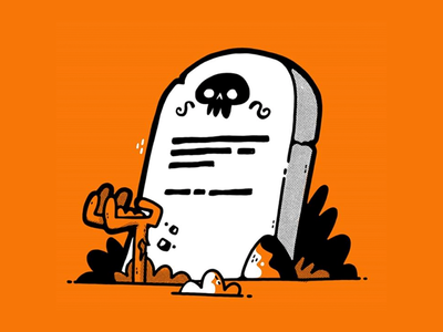 Grave ghost inktober halloween zombie dead rock grave skull hipster character design jetpacks and rollerskates