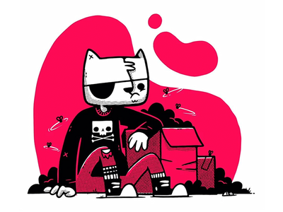 Rebel The Alley Cat illustration cartoon cat logo skateboard converse gang street rebel kitten cat skull hipster character design cute jetpacks and rollerskates