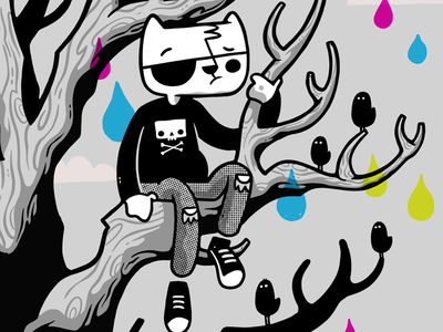 Emo Kitty illustration converse eye patch sky tree birds cmyk rebel cat hipster cartoon character design cute blake stevenson jetpacks and rollerskates