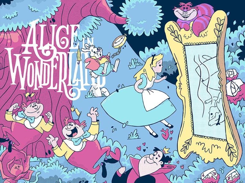 Alice in Wonderland (Licensed Disney Print) animation disney pixar alice in wonderland disney art retro cartoon character design jetpacks and rollerskates illustration