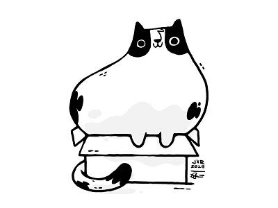 Cat In Box ui box cat drawing kitty cat hipster cartoon character design cute blake stevenson jetpacks and rollerskates illustration