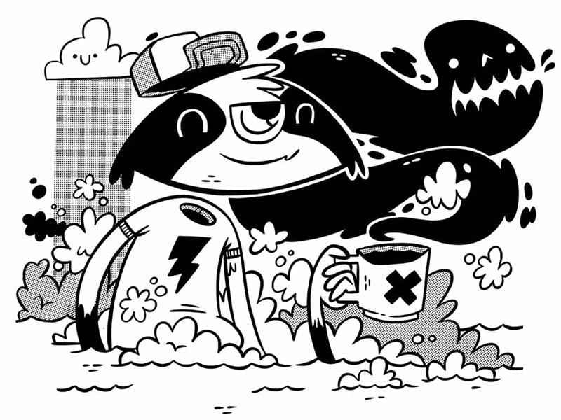 Raccoon Jacked Up On Caffeine (Inked Up) graffiti 80s 90s retro silkscreen skateboarding slime water lightning cute coffee monster hipster cartoon character design jetpacks and rollerskates illustration