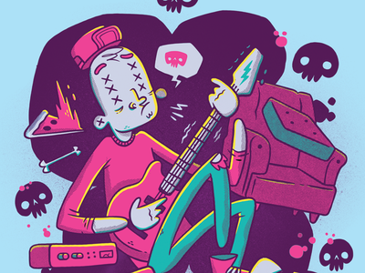 That Rock and Roll Life blake stevenson jetpacks and rollerskates surreal comic skull and crossbones pizza couch character design rock and roll weird cute creepy amplifier hipster skull guitar illustration