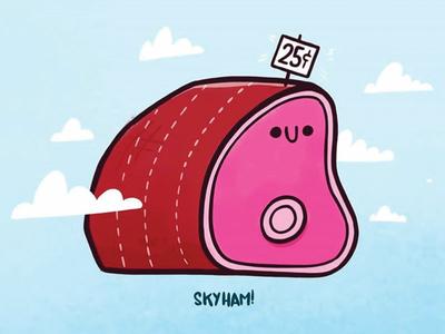 Sky Ham! ui food illustration design hipster surreal random weird 80s retro cartoon cute blake stevenson character design jetpacks and rollerskates sky ham