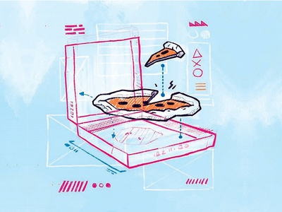 Loose Floaty Pizza 90s 80s illustration retro hipster jetpacks and rollerskates blake stevenson nom food scribble sketch cyber punk diagram interface ui ux user ui pizza