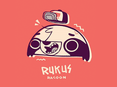 Rukus Racoon is back apparel halftone shapes hat head 90s typography logo 80s hipster skateboard creature skull cute character design cartoon retro racoon illistration