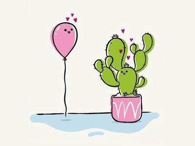 Forbidden Love editoral ux ui simple heart love cactus balloon hipster retro cartoon character design cute blake stevenson jetpacks and rollerskates illustration