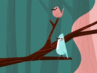 Retro Birds Illustration
