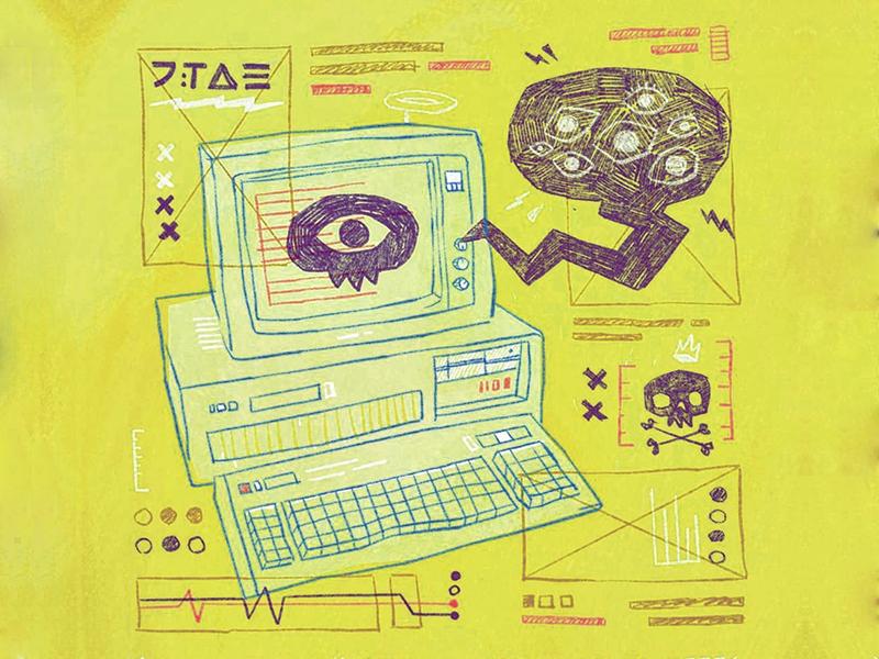 It's in the Machine analytics monitor ibm lightning bolt eyes 90s cyberpunk scribble computer ux ui typography skull 80s hipster retro blake stevenson jetpacks and rollerskates illustration ios