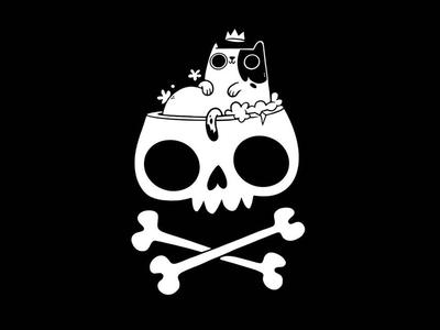 Cat Bathing In Skull