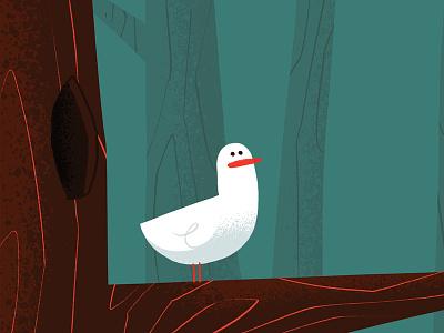 Seagull 50s 60s mid century story book disney mary blair forest tree seagull bird hipster retro cartoon character design cute blake stevenson jetpacks and rollerskates illustration