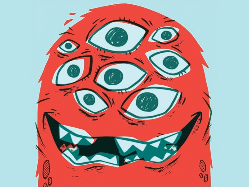 Too many eyes! creepy wacky weird furry teeth eyes monster kids 80s hipster retro cartoon character design cute blake stevenson jetpacks and rollerskates illustration