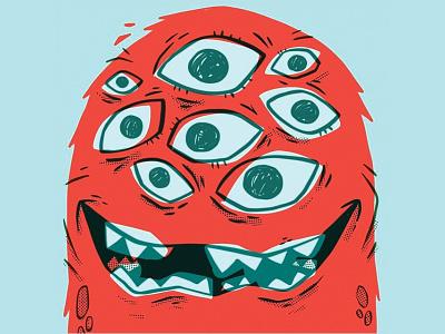 Too many eyes! creepy wacky weird furry teeth eyes monster kids 80s hipster retro cartoon character design cute blake stevenson jetpacks and rollerskates illustration
