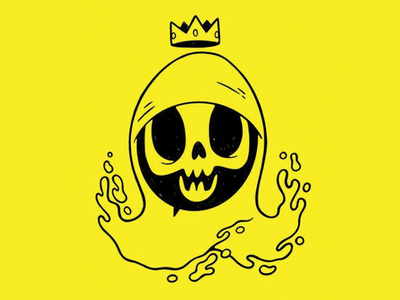 Gloopy Skull with a Crown creepy dripping psychedelic evil drips liquid cloak skateboard crown skull 80s retro cartoon character design blake stevenson jetpacks and rollerskates illustration