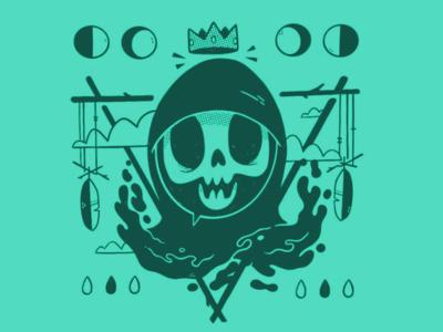 Occult King Reaper tarot deck tarot card hood clouds dreamcatcher reaper feather moon crown occult logo cartoon skull 80s hipster retro character design blake stevenson jetpacks and rollerskates illustration