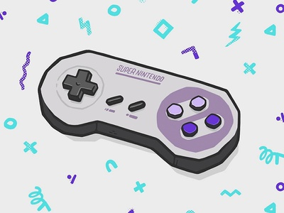 Super Nintendo Controller nintendo 64 classic hardware console nintendo switch snes 1990 90s video games nintendo controller hipster retro blake stevenson jetpacks and rollerskates illustration