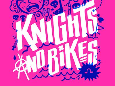 Knights and Bikes Punk Rock Poster goonies video games 90s 80s skull toronto hipster retro cartoon cute character design blake stevenson jetpacks and rollerskates illustration