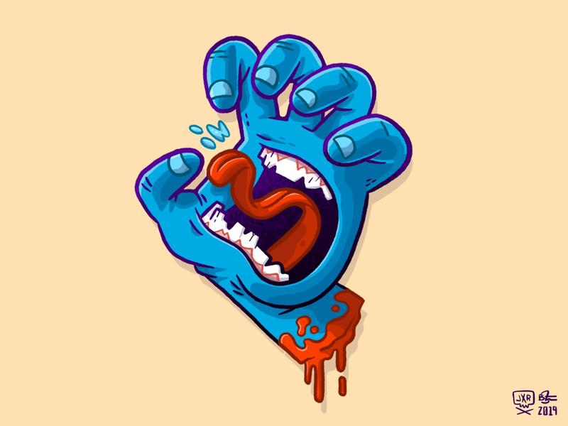 Screaming Hand tongue blood santacruz 90s skateboarding skateboard hand branding 80s skull jetpacksandrollerskates hipster retro character design blake stevenson jetpacks and rollerskates illustration