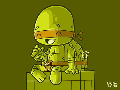 Teenage Mutant Ninja Turtles Michelangelo ninja turtle ninja 90s pizza tmnt 80s jetpacksandrollerskates hipster retro cartoon cute character design blake stevenson jetpacks and rollerskates illustration