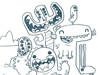 Getting the gang back together - Monsters weird eyes bug horns teeth rabbit bird monster kids 80s hipster retro cartoon cute character design blake stevenson jetpacks and rollerskates illustration