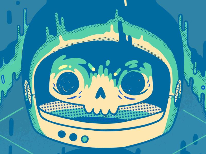 Melty Space Skull 90s slimer weird surreal melting drips astronaut cute cyberpunk space 80s skull hipster retro cartoon character design blake stevenson jetpacks and rollerskates illustration