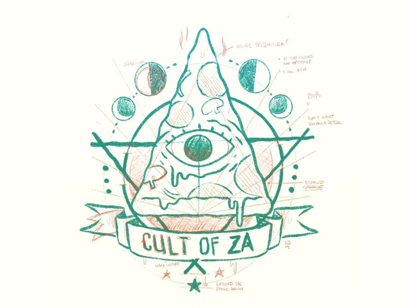 Cult of Za (Pizza) witchcraft creepy eye pizza moon occult retro skull 80s hipster cult cute character design jetpacks and rollerskates illustration
