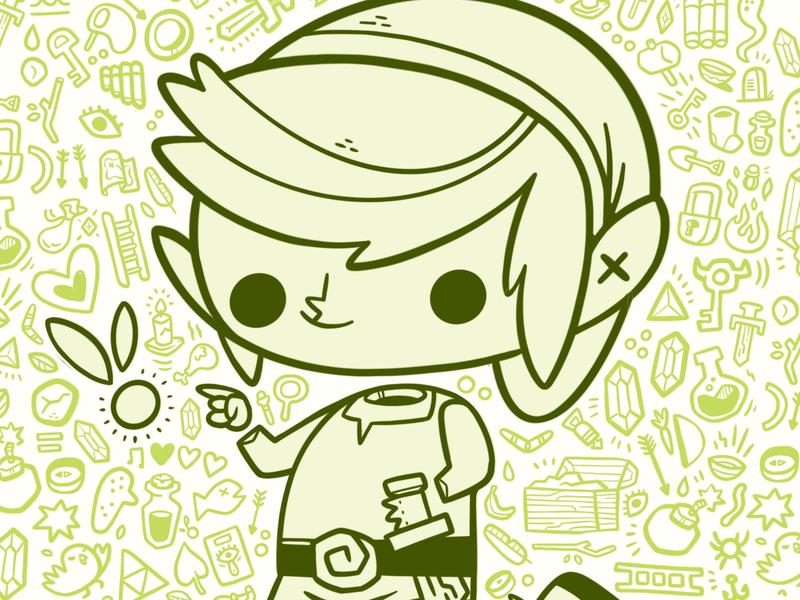 Legend of Zelda: Link chicken rupee eye key bomb video games sword fairy link nintendo zelda toronto hipster retro cartoon cute character design blake stevenson jetpacks and rollerskates illustration