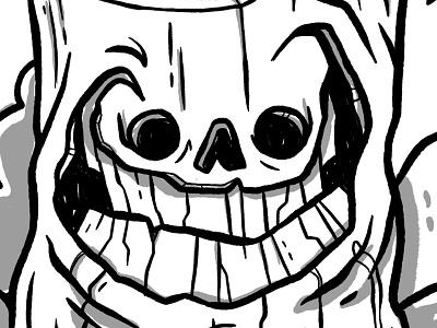 Going Slightly Mad inktober ink crazy wood mad creepy smile rocks crow tree axe halloween retro cartoon cute character design blake stevenson jetpacks and rollerskates illustration