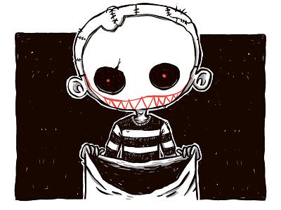 Trick or Treat: Creepy Ass Kid. horror dead creepy scary blackandwhite evil inktober halloween skull 80s hipster retro cute character design blake stevenson jetpacks and rollerskates illustration